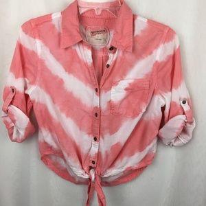 Arizona Jean Tie Dye Button Down Blouse